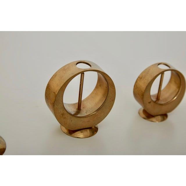 1950s Set of Rare Brass Candlesticks by Artur Pe Kolbäck, Sweden, 1950s For Sale - Image 5 of 6