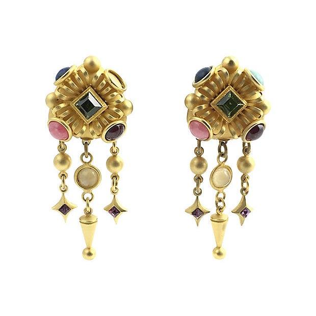 Blue Natasha Stambouli Chandelier Earrings For Sale - Image 8 of 8