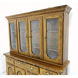 Early American Crown Glass Cherry China Cabinet Breakfront Bookcase Cupboard Preview