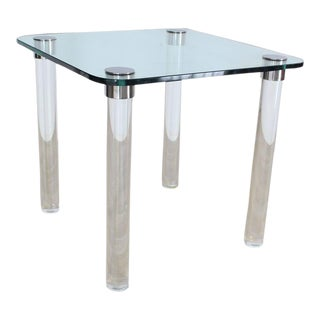 Thick Glass Top Lucite Legs Mid-Century Modern Square Game Dinette Table For Sale