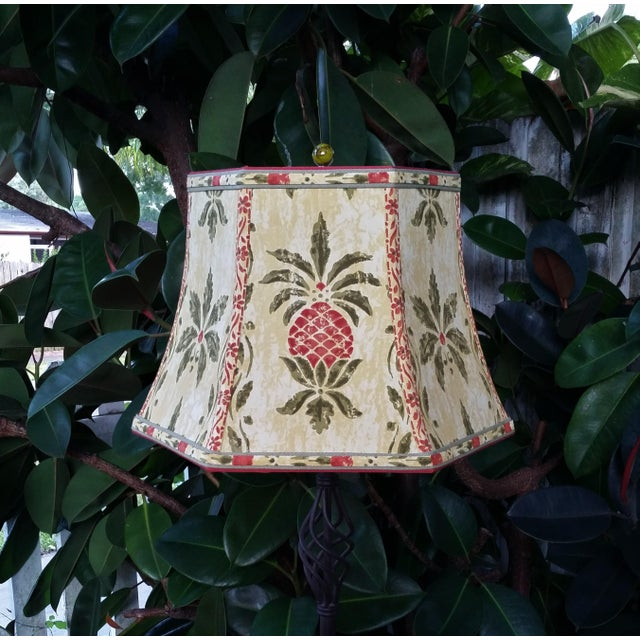 Vintage Pineapple Greeff Fabric Mustard Olive Green and Coral Lampshade For Sale In West Palm - Image 6 of 11