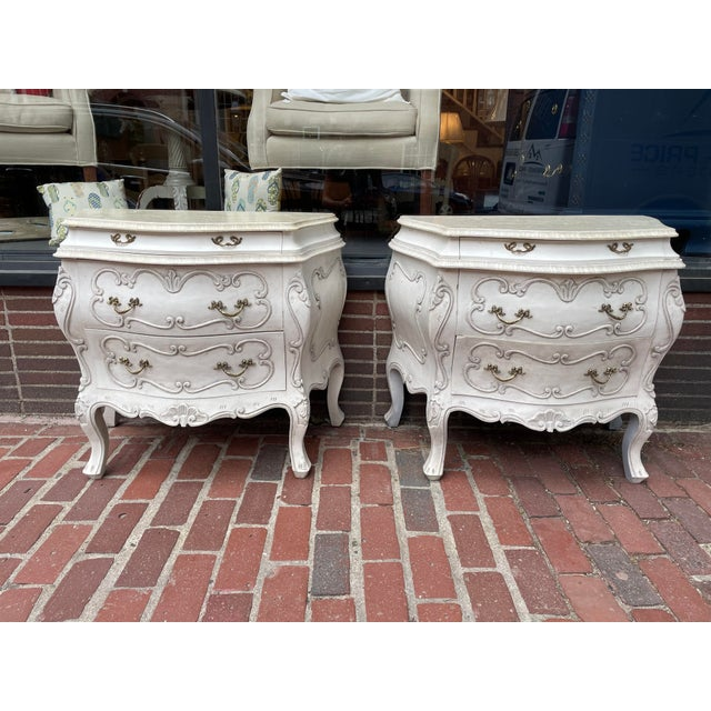 White Vintage White Pine Bombay Chest of Drawers - a Pair For Sale - Image 8 of 8