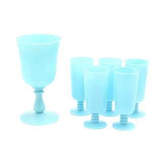 """Antique French Portieux Vallerysthal """"Blue Opaline"""" Footed Goblets and Chalice - Set of 6 For Sale"""