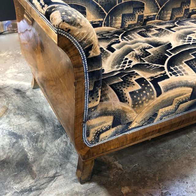 1920s Glamorous Art Deco Sofa and Two Chairs Suite in Cotton Velvet, Italy, 1920s For Sale - Image 5 of 12