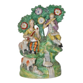 Early Staffordshire Figural Group Musicians With Sheep, 18th C. For Sale