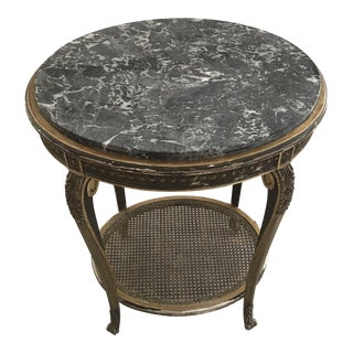 Giltwood Oval Side Table With Marble Top For Sale
