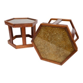 Brown Saltman Hexagonal Nesting Tables – a Pair For Sale