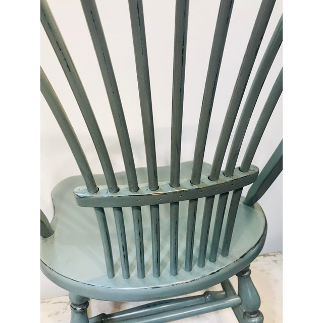 1970s Vintage Celedon Painted Windsor Chair For Sale - Image 4 of 7