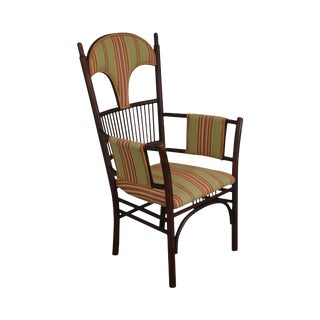 French Art Nouveau Antique Bent Wood Armchair For Sale