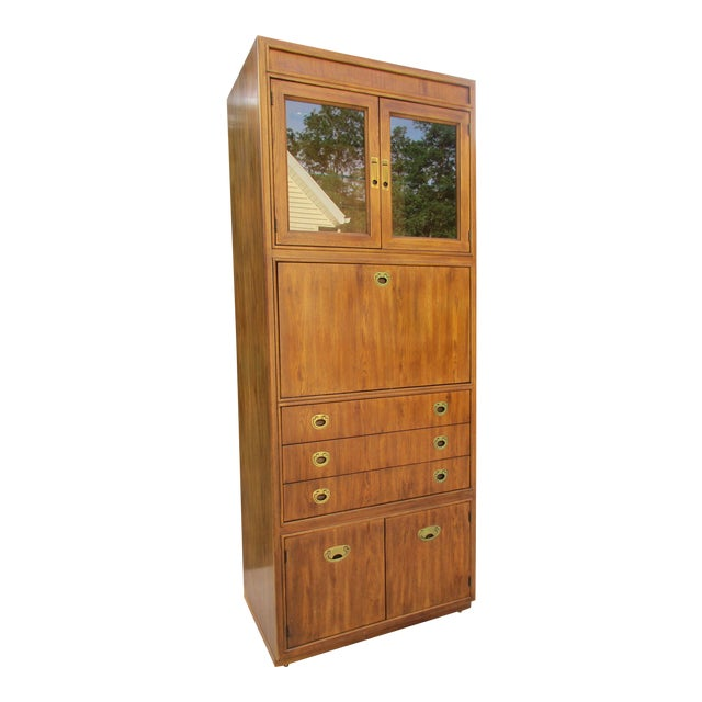 Drexel Heritage Campaign Style Bar Cabinet - Image 1 of 11