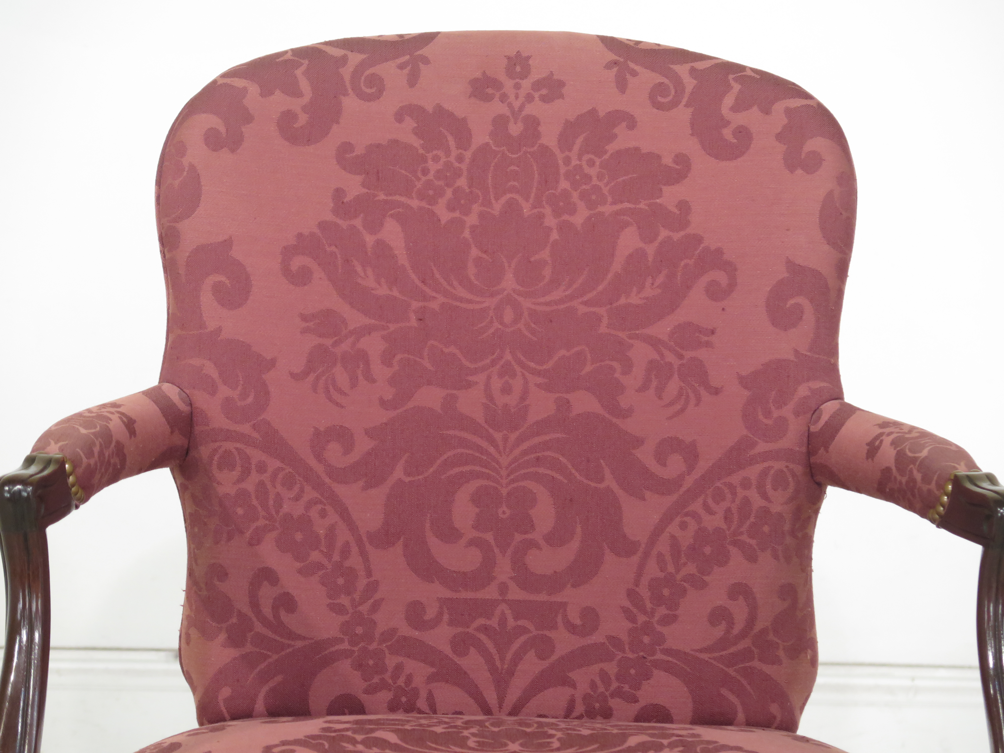 Hickory Chair Co. Queen Anne Mahogany Damask Armchair   Image 3 Of 13