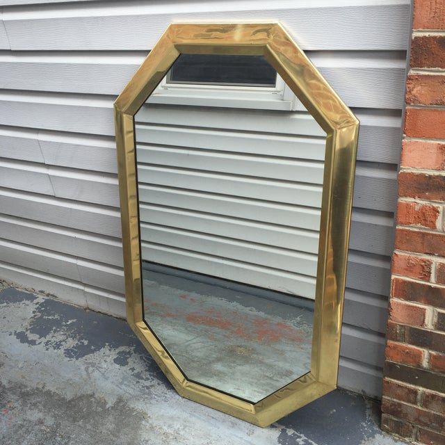 Abstract Mid Century Modernist Mastercraft Solid Brass Octagonal Mirror For Sale - Image 3 of 9