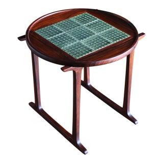 Vintage Mid Century Jens Quistgaard for Richard Nissen Rosewood & Tile Side Table For Sale