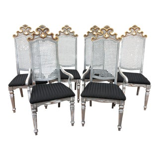 Gilt Gold Silver Painted Gothic Cane Dining Chairs - Set of 6 For Sale