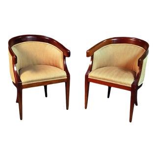 Pair of Mid-Century Modern Regency Style Club Chairs For Sale