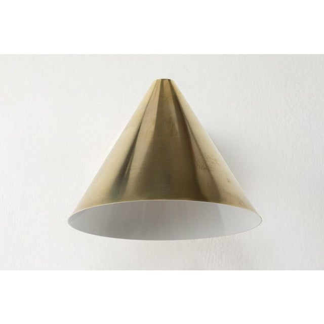 Gold Hans-Agne Jakobsson 'Mini-Tratten' Polished Brass Outdoor Sconces - a Pair For Sale - Image 8 of 13