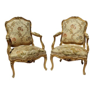 Late 19 C. French Louis XV Style Maison Jansen Arm Chairs Signed. For Sale