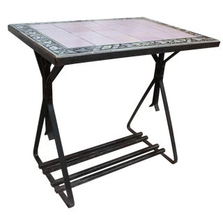 Vintage Tile Top Iron Table