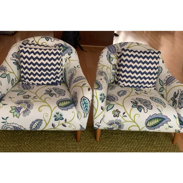 Crate & Barrel Modern Floral Accent Chairs - A Pair For Sale - Image 4 of 5
