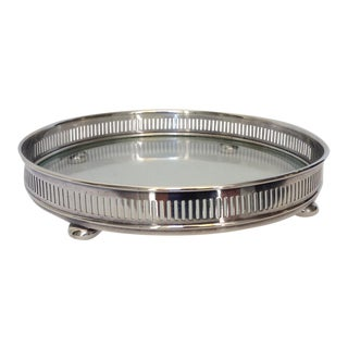 Silver Plate Circular Gallery Tray For Sale