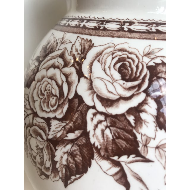 19th Century Large Scale Floral Ribbon English Ironstone Pitcher For Sale - Image 4 of 8