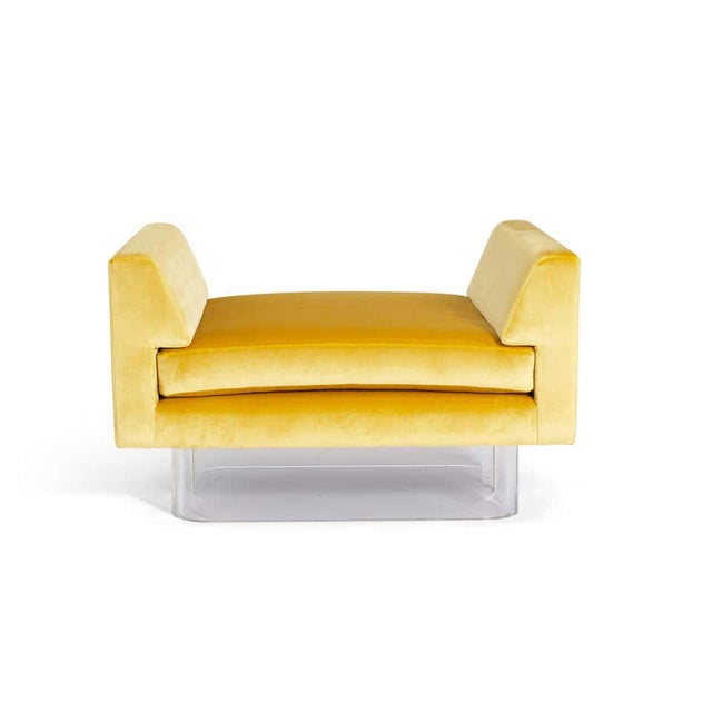 Lucite and Yellow Silk Velvet Bench For Sale - Image 4 of 7