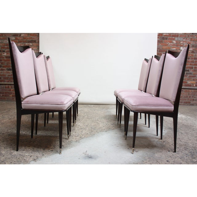 Italian Set of Six Mid-Century Italian Dining Chairs With Nickel Sabots For Sale - Image 3 of 13
