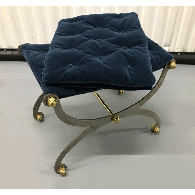 Metal Vintage Steel, Brass and Mohair Campaign Cerule Stool For Sale - Image 7 of 10