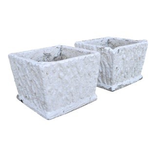 9 X 11 Pair of Vintage White Concrete Cement Square Garden Planter Flower Pots For Sale