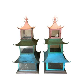 1950s Vintage Japanese Cold Painted Hanging Lanterns - A Pair For Sale