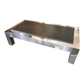 1970s Paul Evans Mixed Metal + Slate Rectangular Cocktail Table For Sale