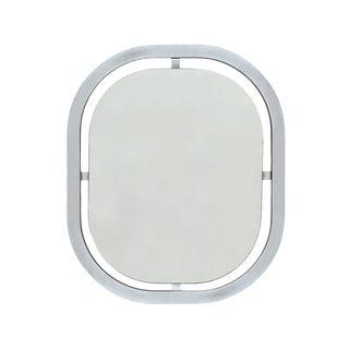 1970s Italian Modern Oval Chrome Wall Mirror For Sale