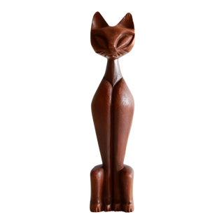 Mid Century Modern Carved Wood Tiki Cat Figure For Sale