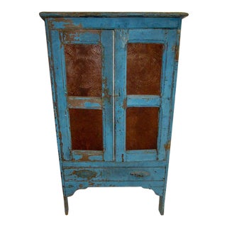 19th Century American Primitive Southern Pie Safe With Distressed Blue Paint For Sale