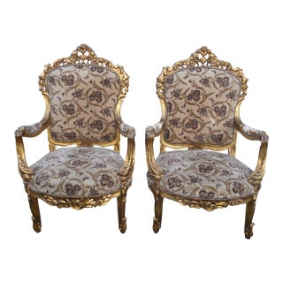 1920s French Louis XVI Ornately Carved Gold Velvet Accent Chairs - a Pair For Sale