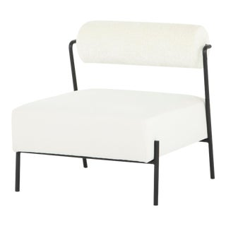 Marni Occasional Chair In Oyster and Matte Black Frame For Sale