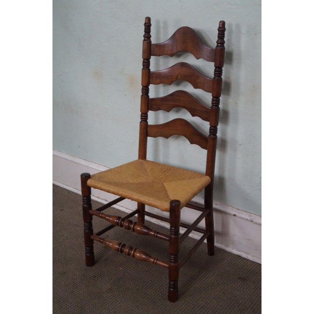 Solid Maple Rush Seat Ladder Back Dining Chairs Set Of 6
