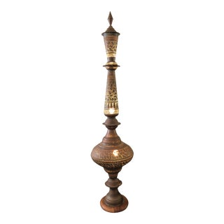 Antique 1920s Moroccan Brass Hammered Lamp For Sale