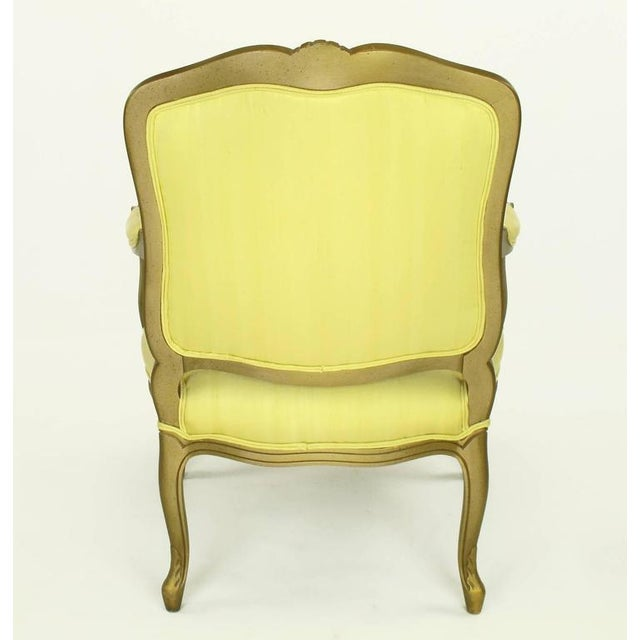 1940s Giltwood Louis XV Style Fauteuil with Saffron Silk Upholstery For Sale - Image 4 of 8