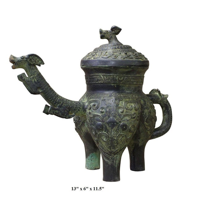 Chinese Oriental Green Bronze-Ware Display Decor For Sale In San Francisco - Image 6 of 6