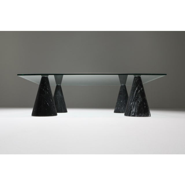 Marble and Glass Coffee Table in the Style of Massimo Vignelli - 1970s For Sale - Image 6 of 10