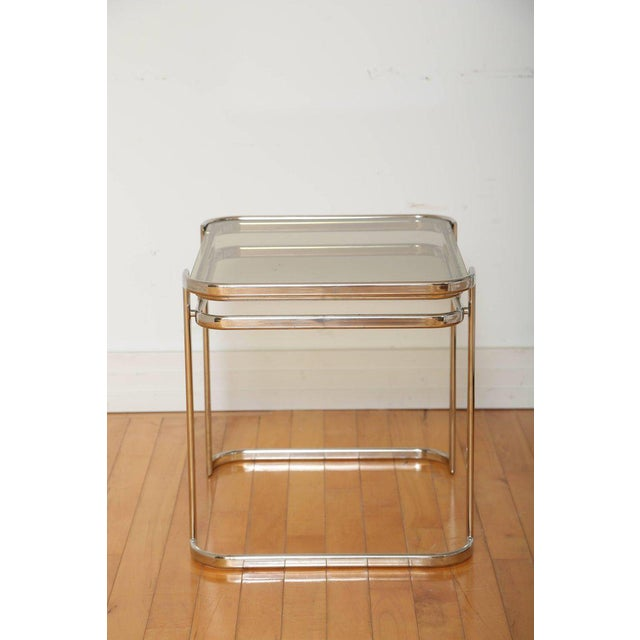 1970s Pair of Italian Mid-Century Modern Chrome Side Tables For Sale - Image 5 of 12