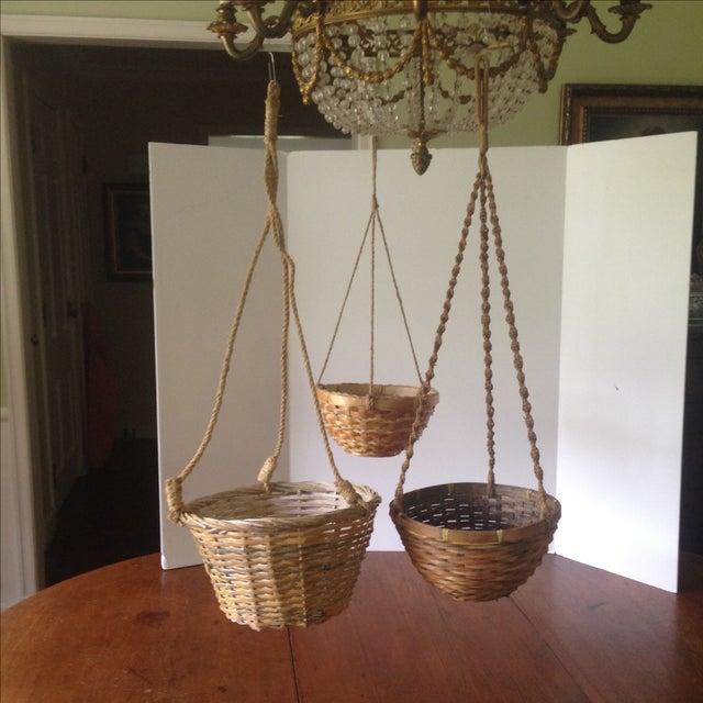 Vintage Hanging Wicker Baskets - Set of 3 - Image 2 of 11