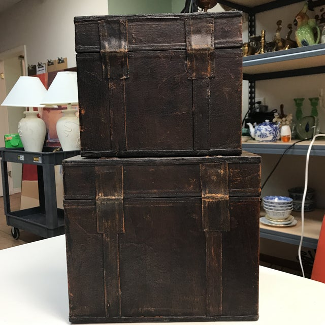 Leather Vintage Leather Storage Boxes - A Pair For Sale - Image 7 of 11
