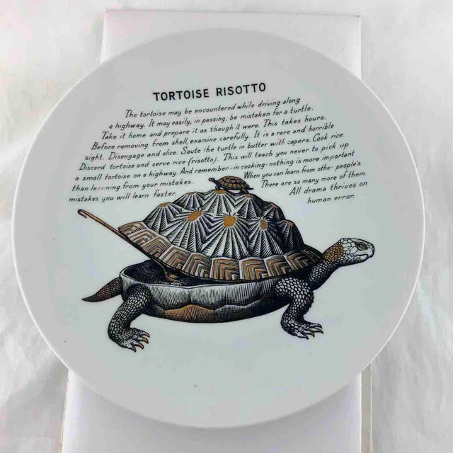 Piero Fornasetti 1960's Tortoise Risotto Improbable Recipe Plate for Fleming Joffe For Sale - Image 9 of 9