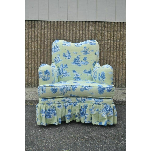 French Country Drexel Heritage Vera Bradley Rolled Arm French Country Club Chair & Ottoman For Sale - Image 3 of 13