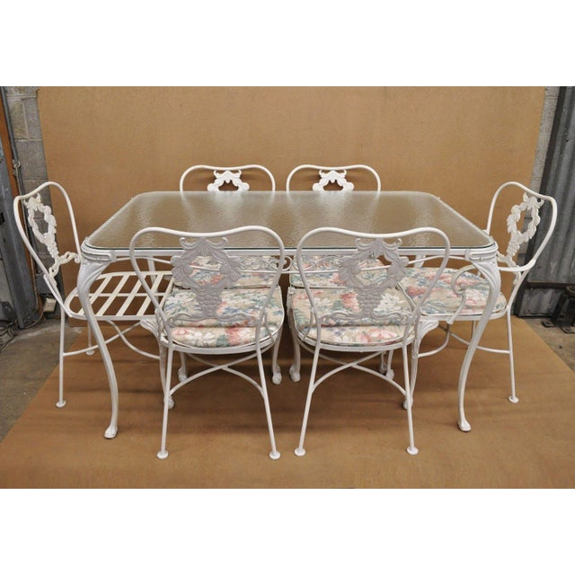 20th Century Victorian Cast Aluminum Patio Dining Set - 7 Pieces For Sale - Image 10 of 13