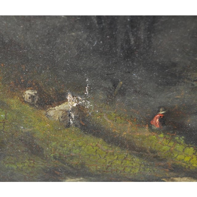 Canvas 19th C. Country Landscape w/ Cows & Figure For Sale - Image 7 of 9