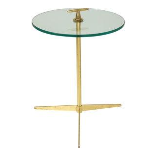 Midcentury Italian Table on Brass Tripod Base For Sale