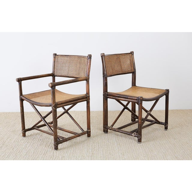 Set of Eight McGuire Bamboo Rattan Cane Dining Chairs For Sale In San Francisco - Image 6 of 13